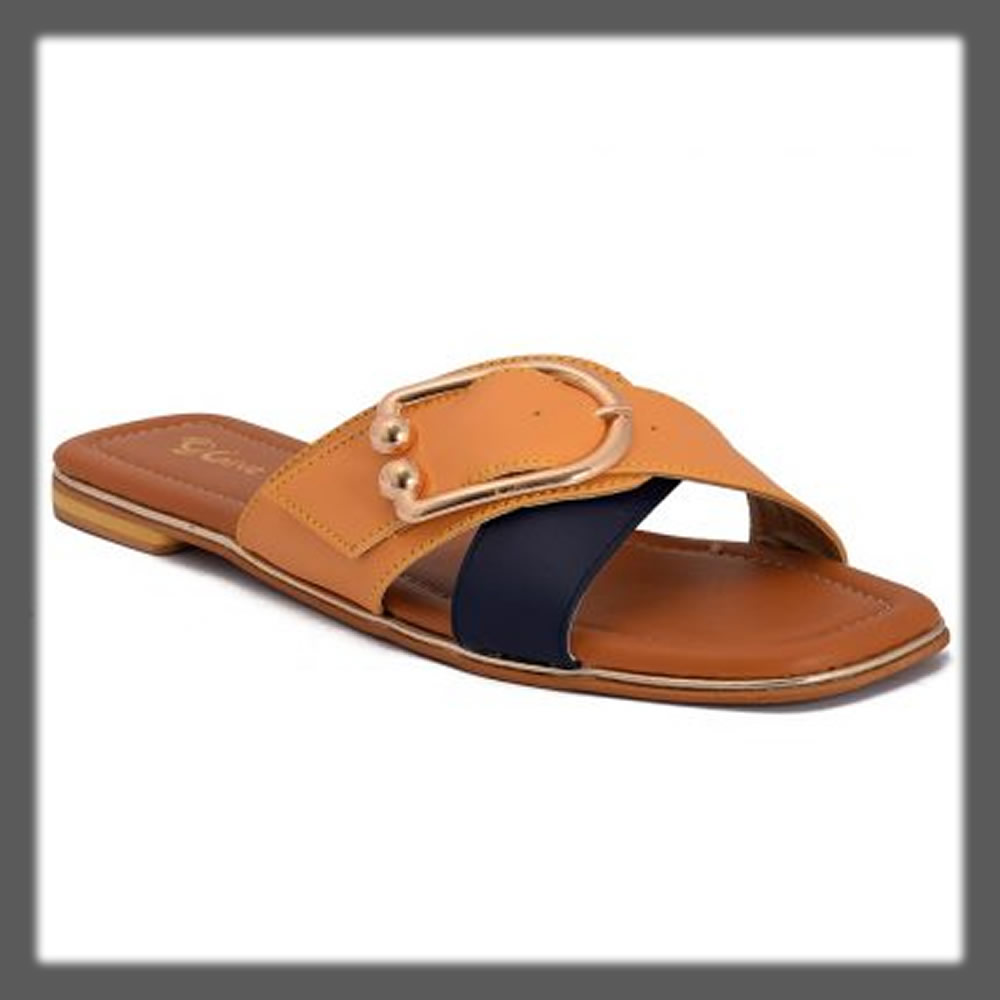 classic blue and yellow slipper