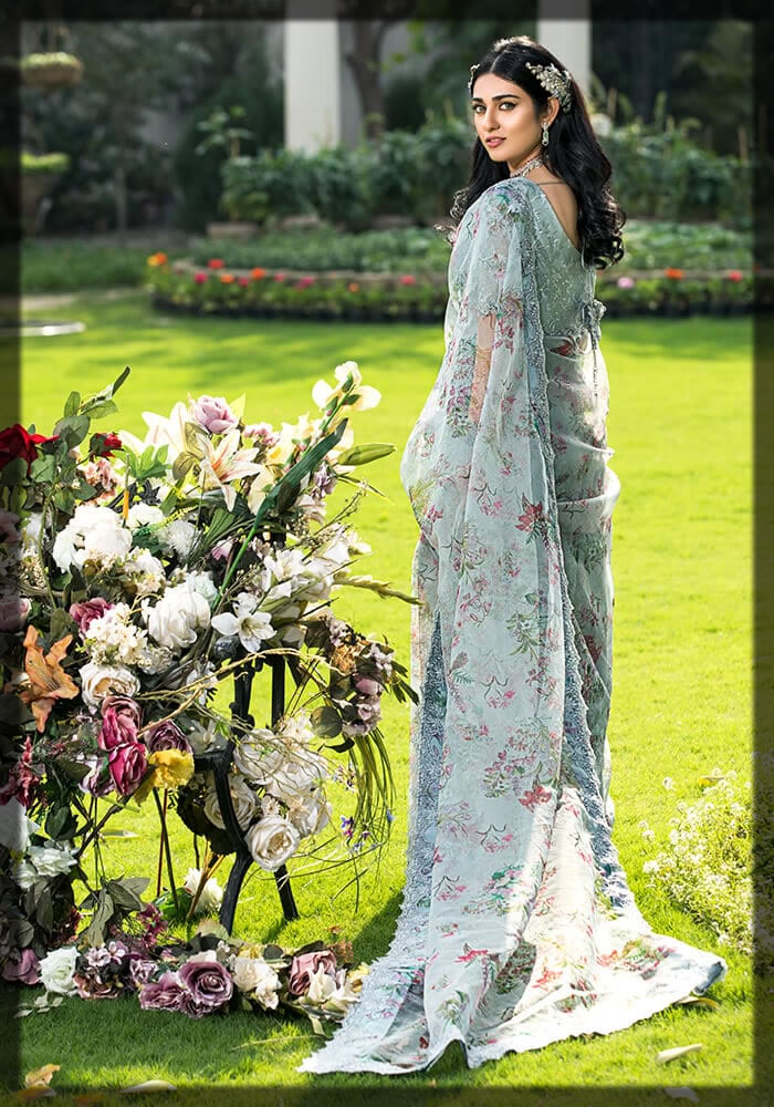 classic floral printed and embroidered saree