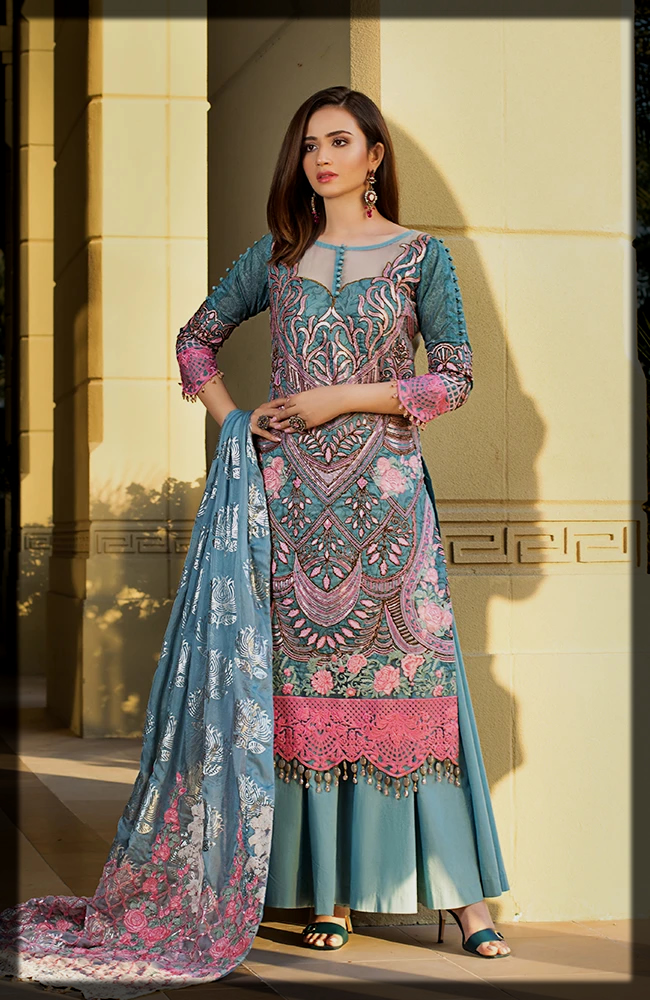 classy 3 Piece Embroidered Luxury Lawn dresses by Alzohaib