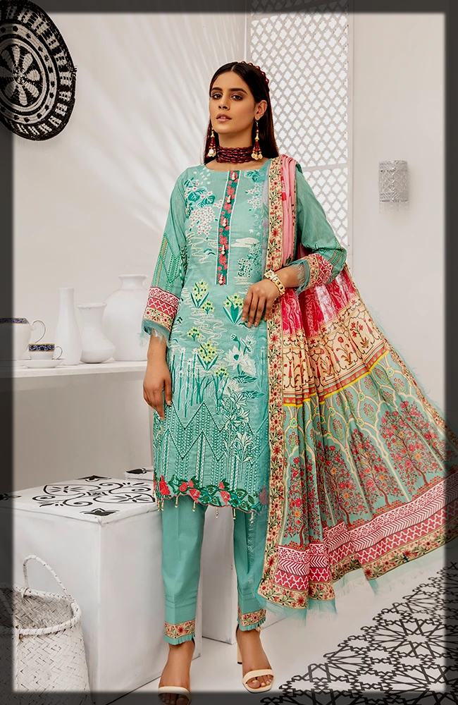 classy Coco Digital Embroidered Lawn Group by Alzohaib
