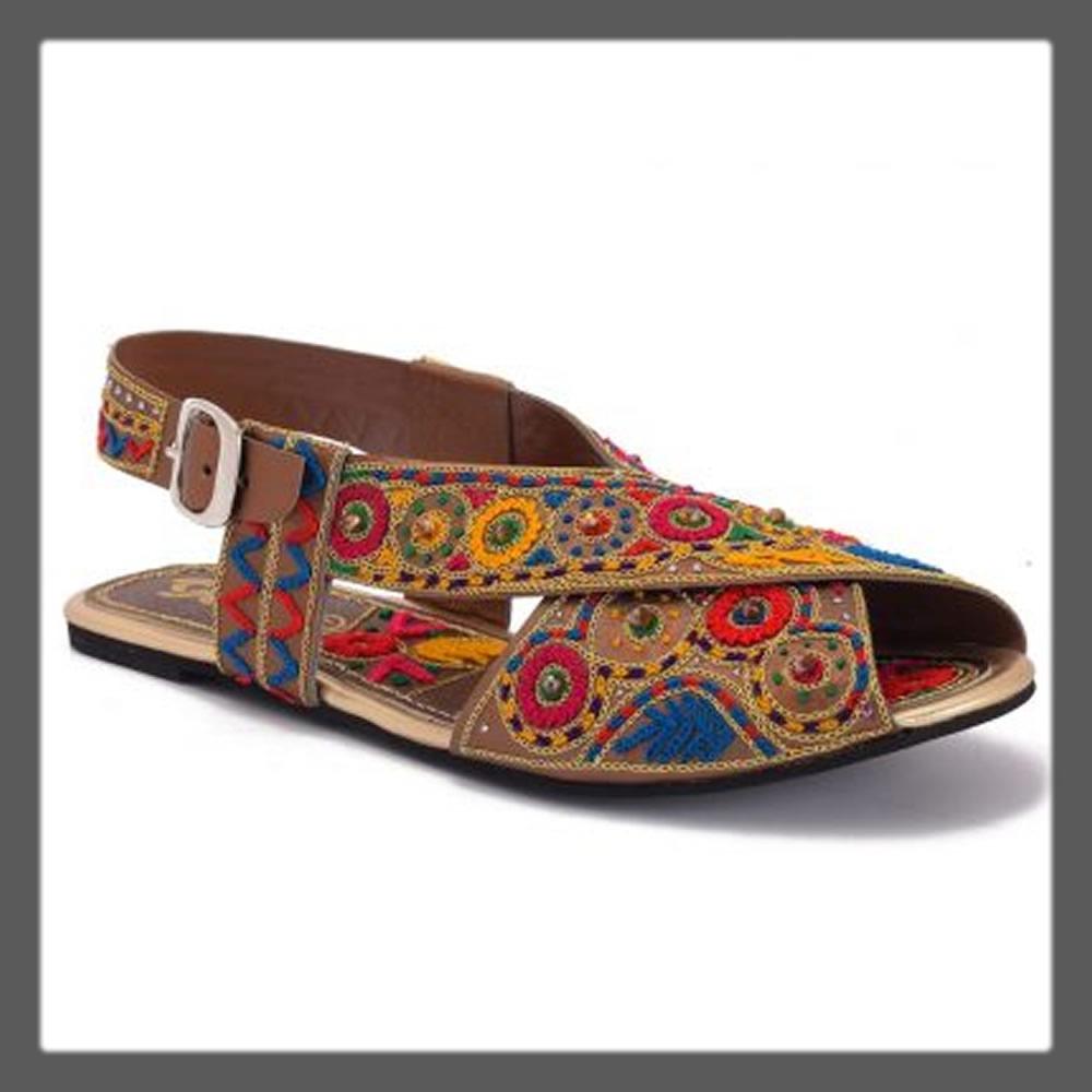 colorful peshawar chappal sandals