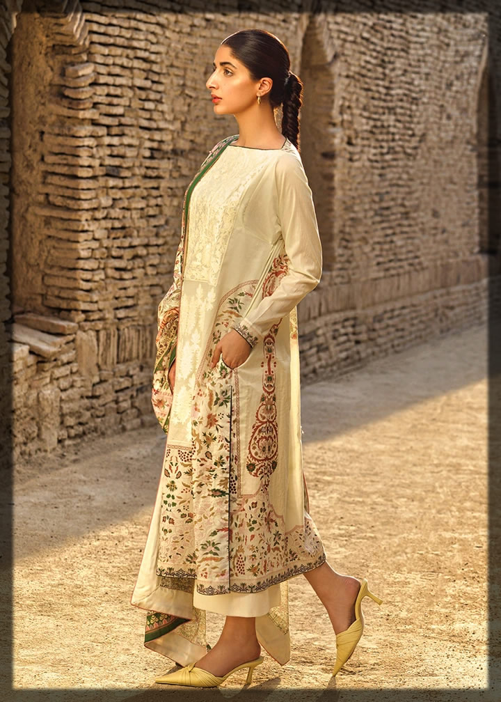 creamy embroidered lawn dress