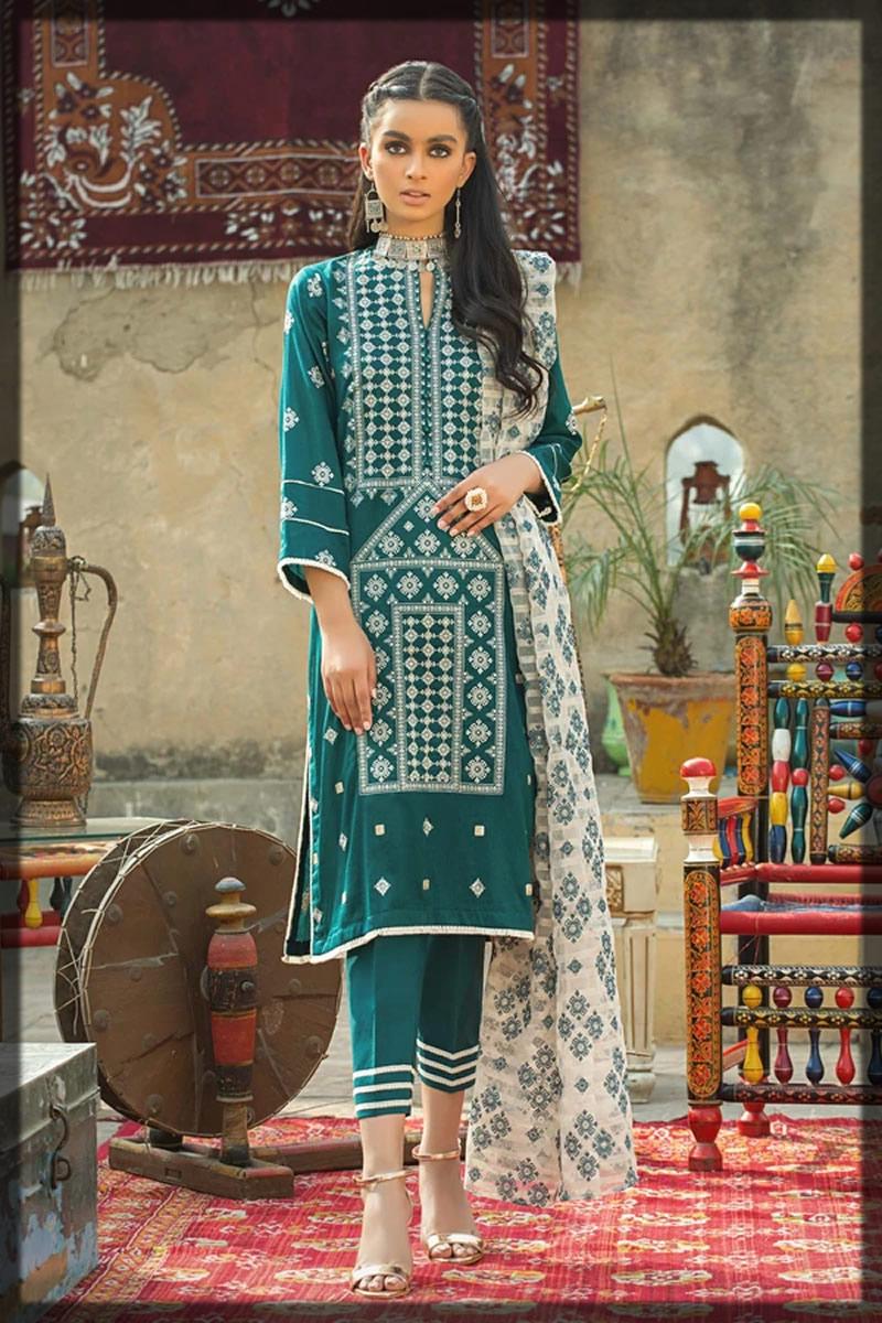 dark green balochi style dress