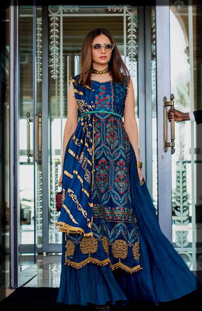 dazzling blue Embroidered Luxury Lawn Collection