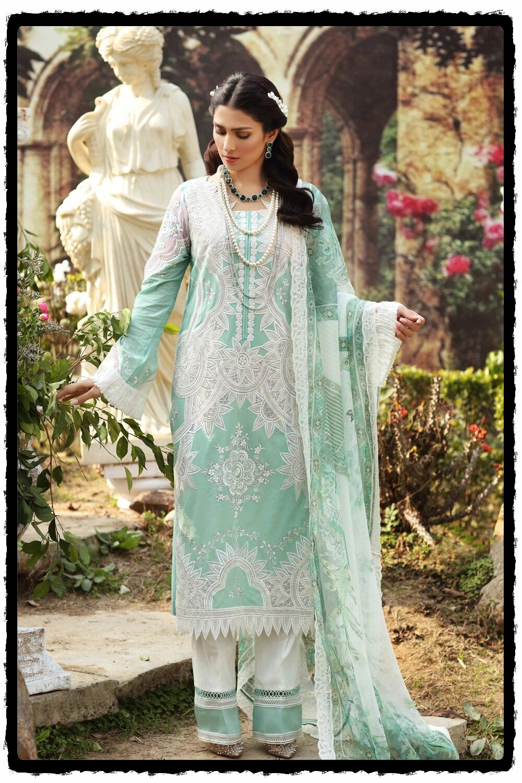 elegant light blue embroidered lawn dress