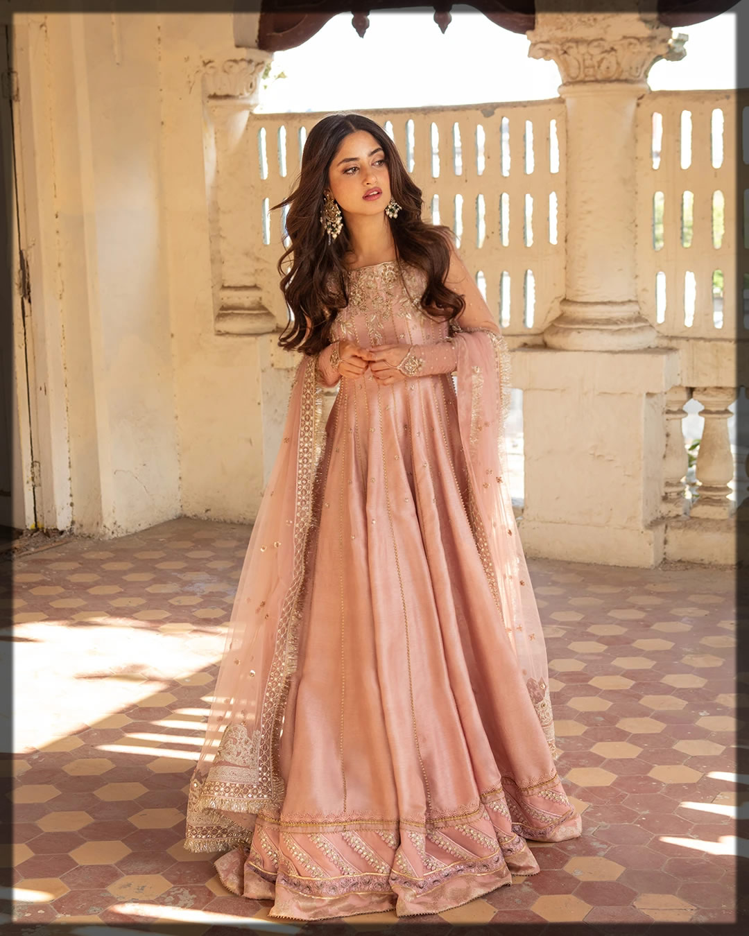 elegant peachy peshwas for teens