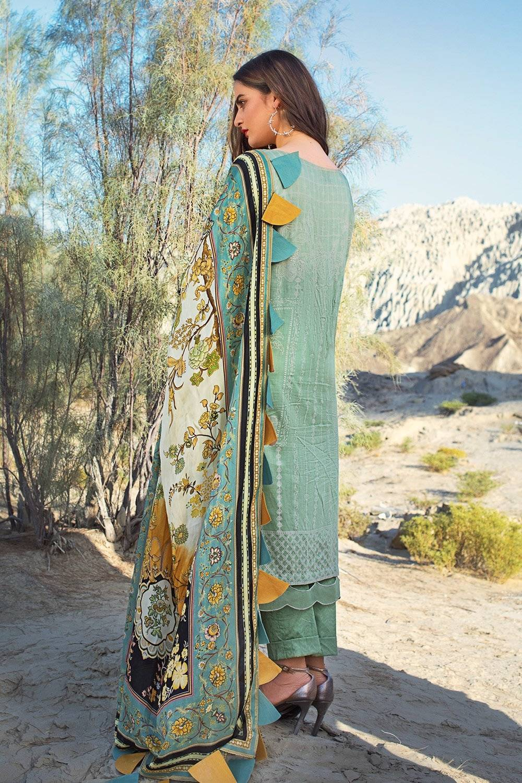 elegant pistachion embroidered lawn dress