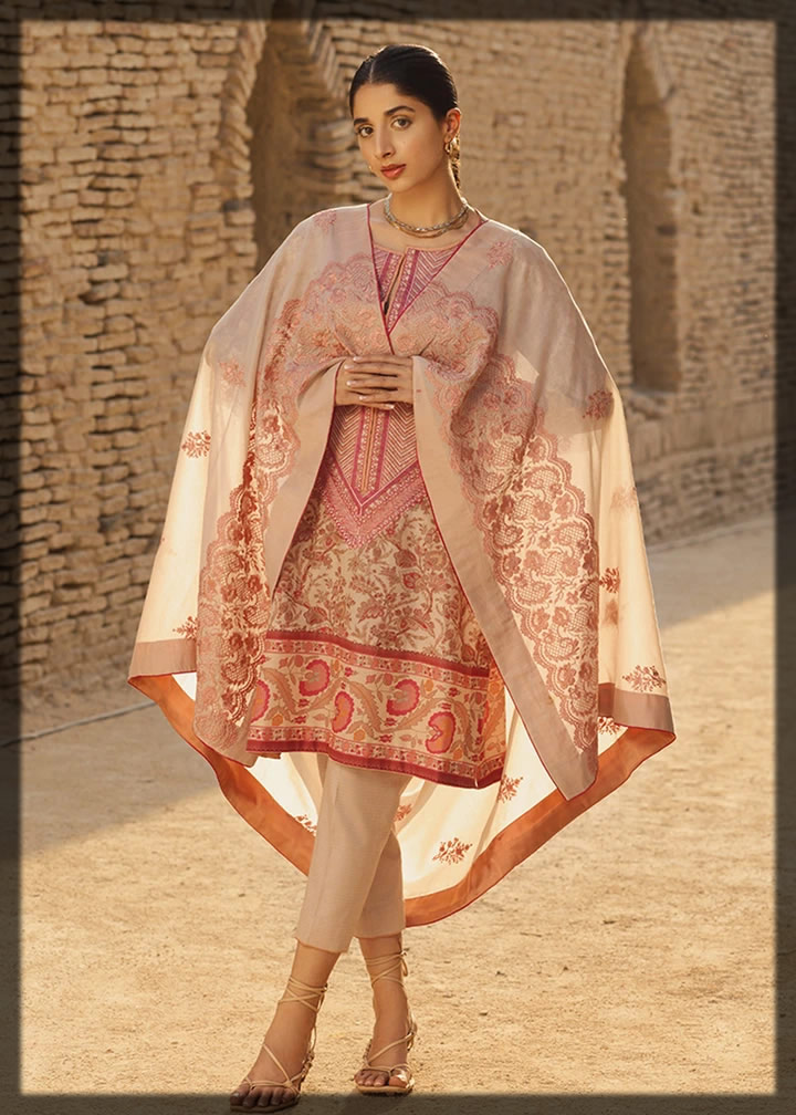 elegant roseline embroidered lawn dress