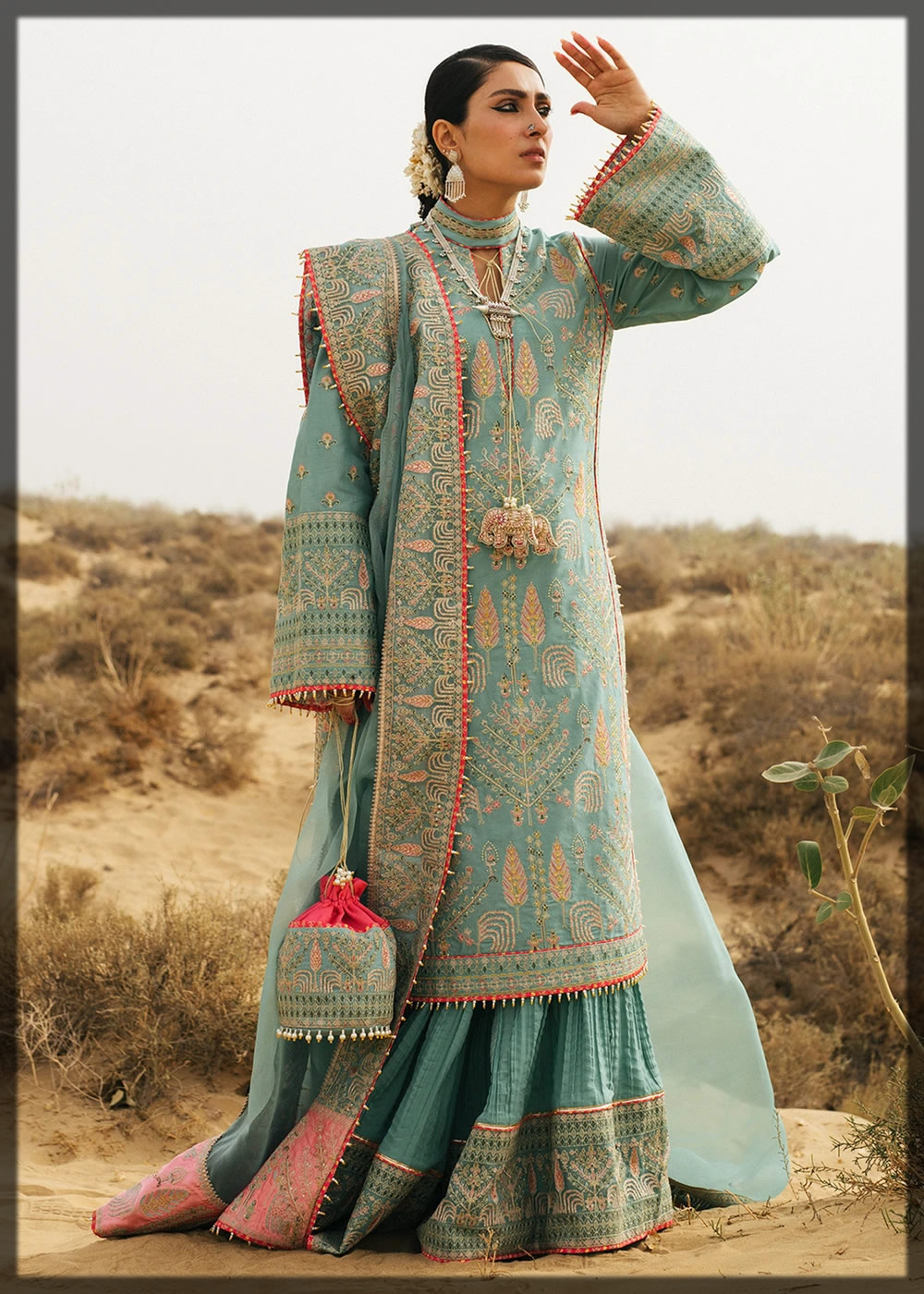 embellished ice blue lawn suit