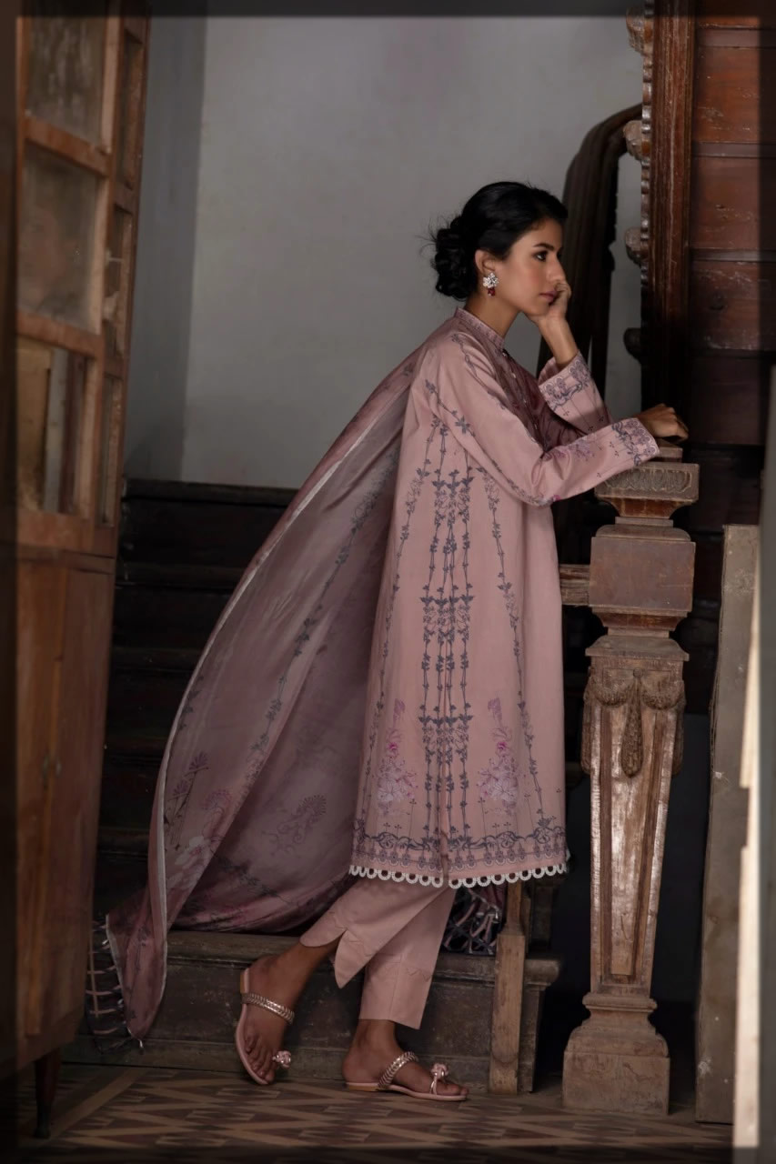 embroidered dusty pink lawn dress