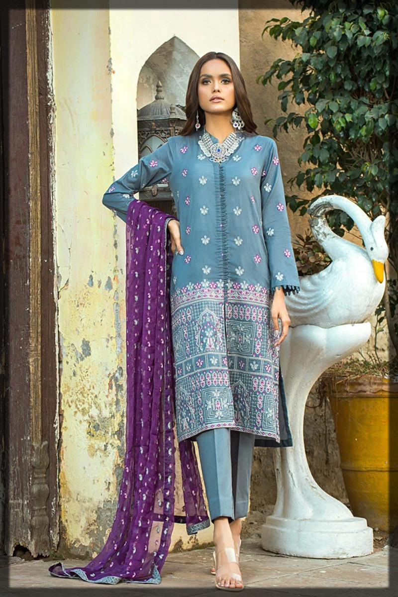 embroidered grey lawn dress