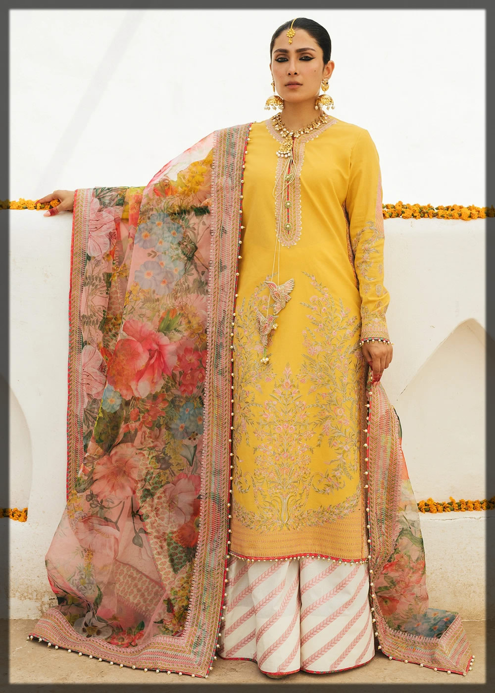 embroidered yellow luxury lawn dress