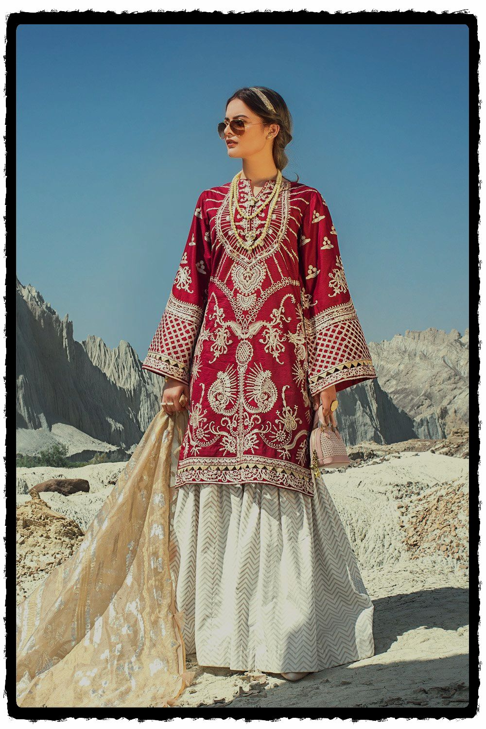 ethnic maroon embroidered lawn suit