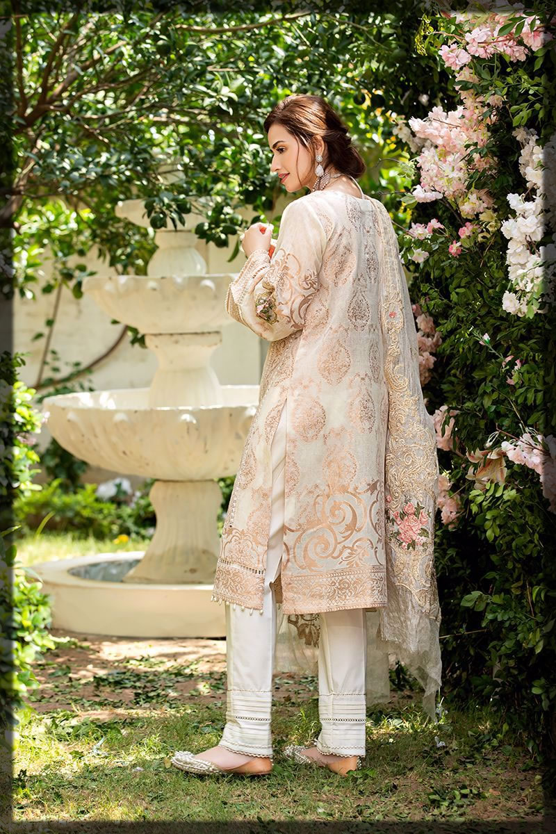exquisite pearl gold lawn dress