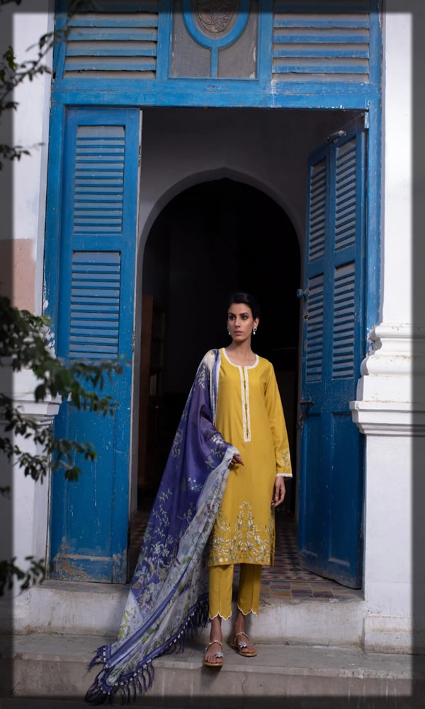 exquisite yellow embroidered lawn dress