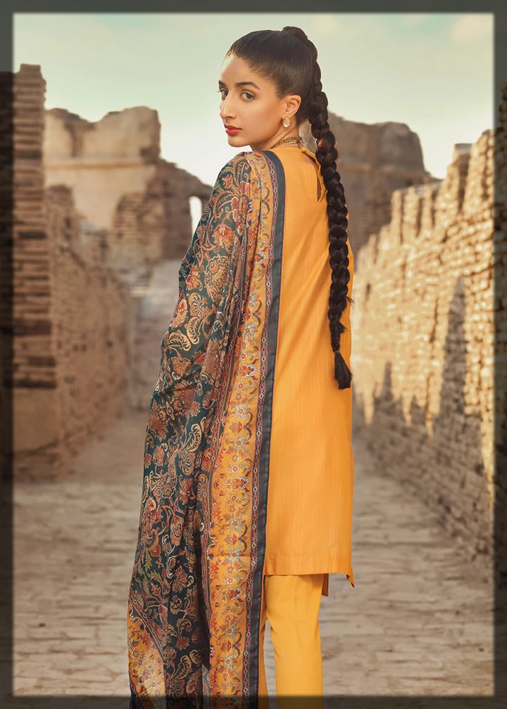 exquisite yellow luxury lawn suit