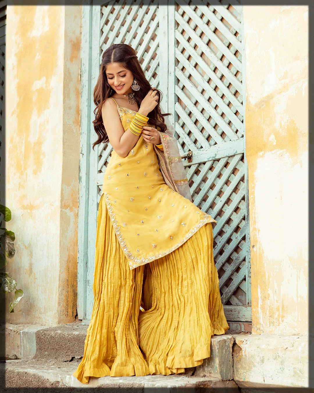 fancy yellow silk outfit