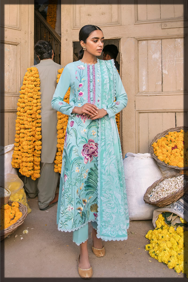 ferozi embroidered lawn suit