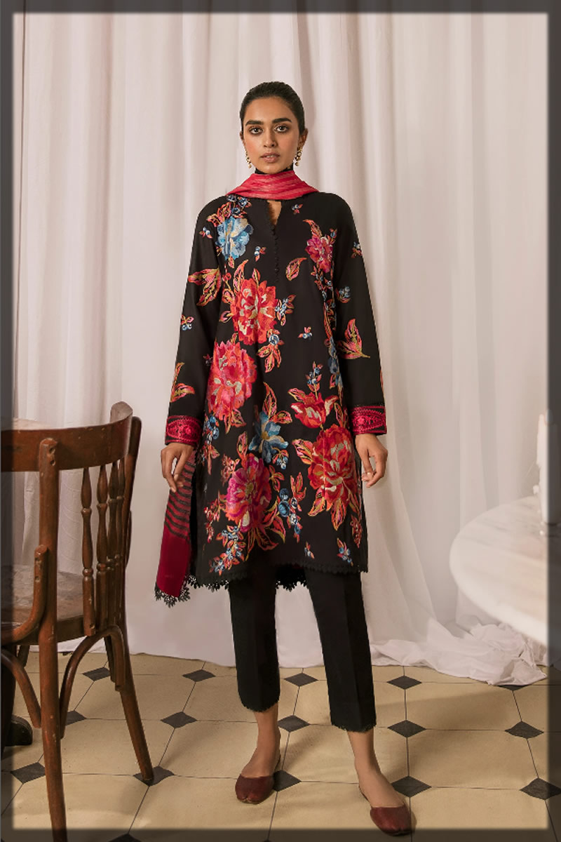 flame black embroidered lawn dress