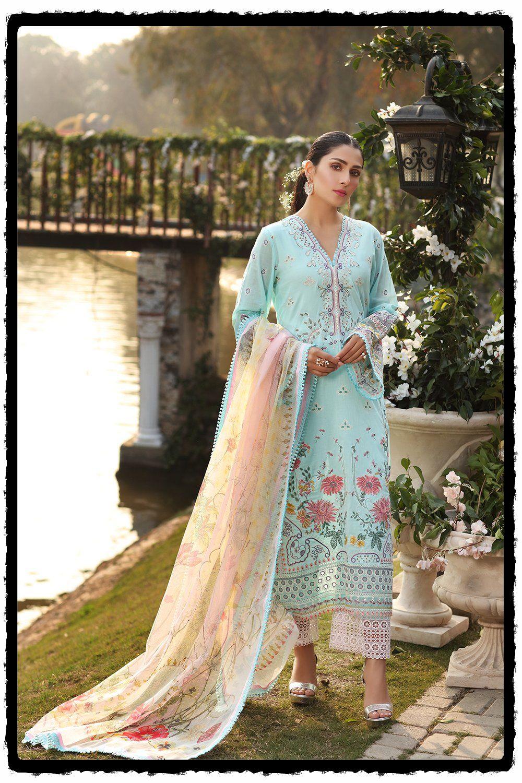 floral blue lawn dress