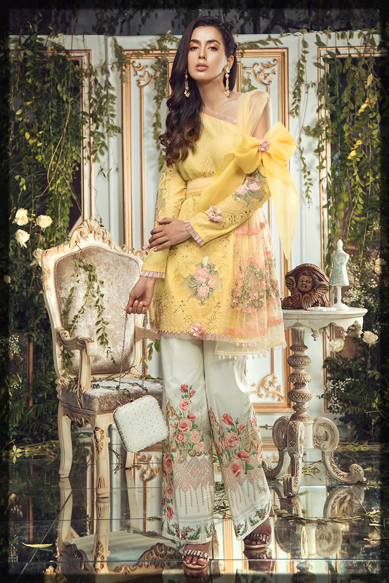 floral printed and embroidered yellow lawn dress