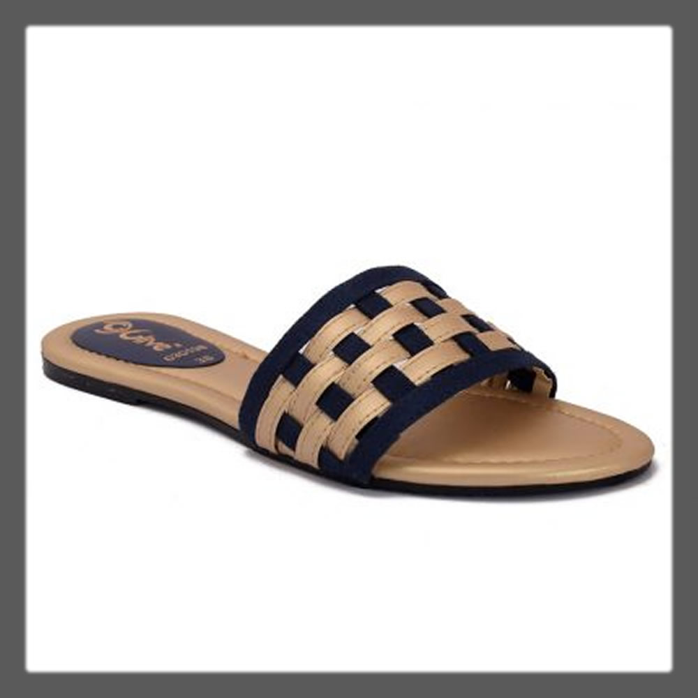 golden black slippers for women