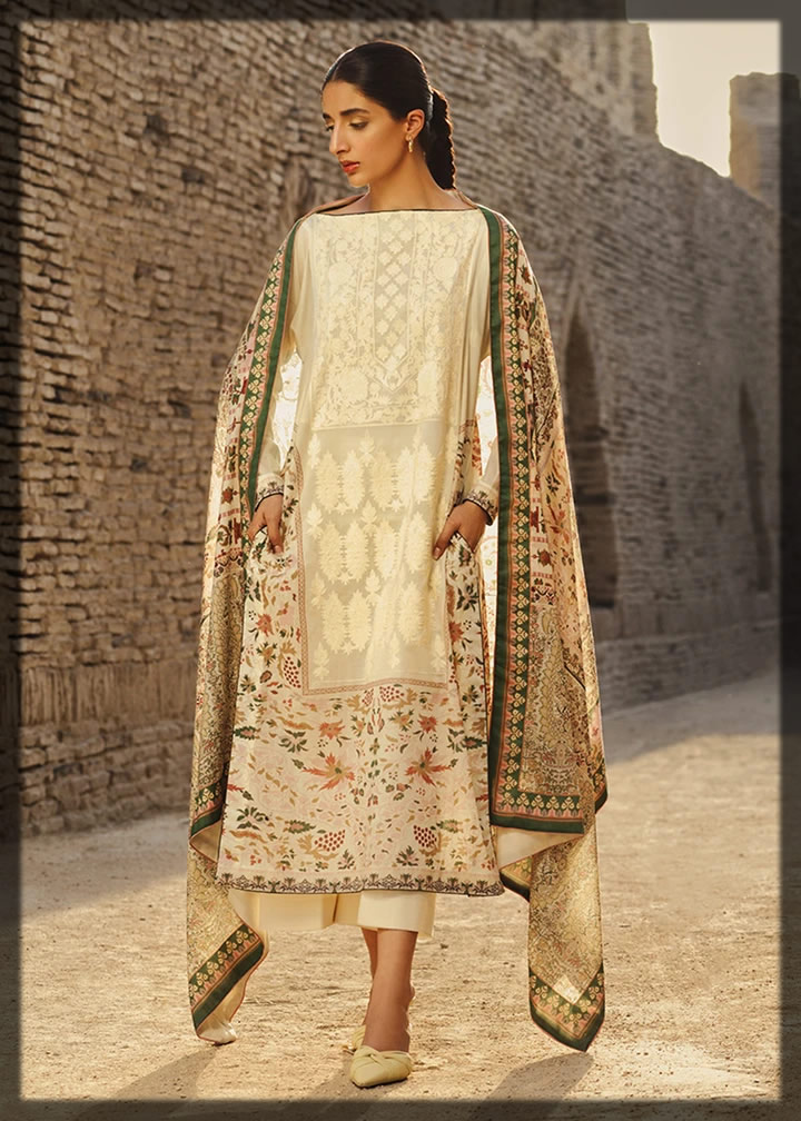 graceful creamy embroidered lawn dress