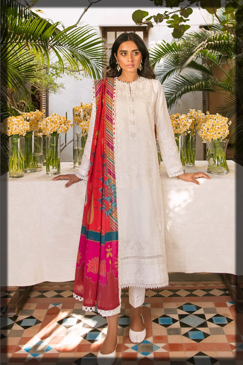graceful white embroidered lawn dress