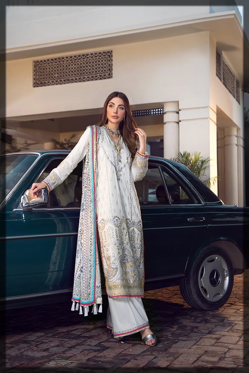graceful white lawn embroidered dress