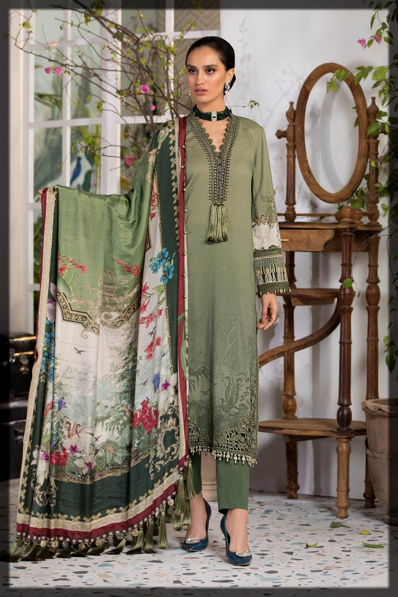 green shaded summer lawn suit by Maria b