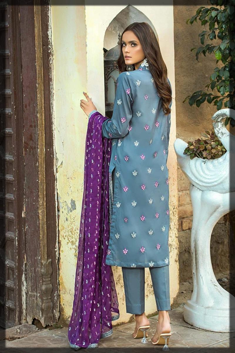 grey lawn dress with purple dupatta