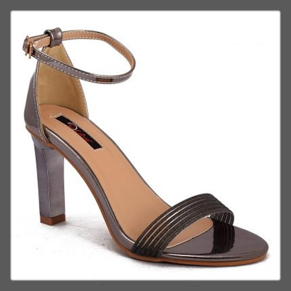 grey open fancy heels