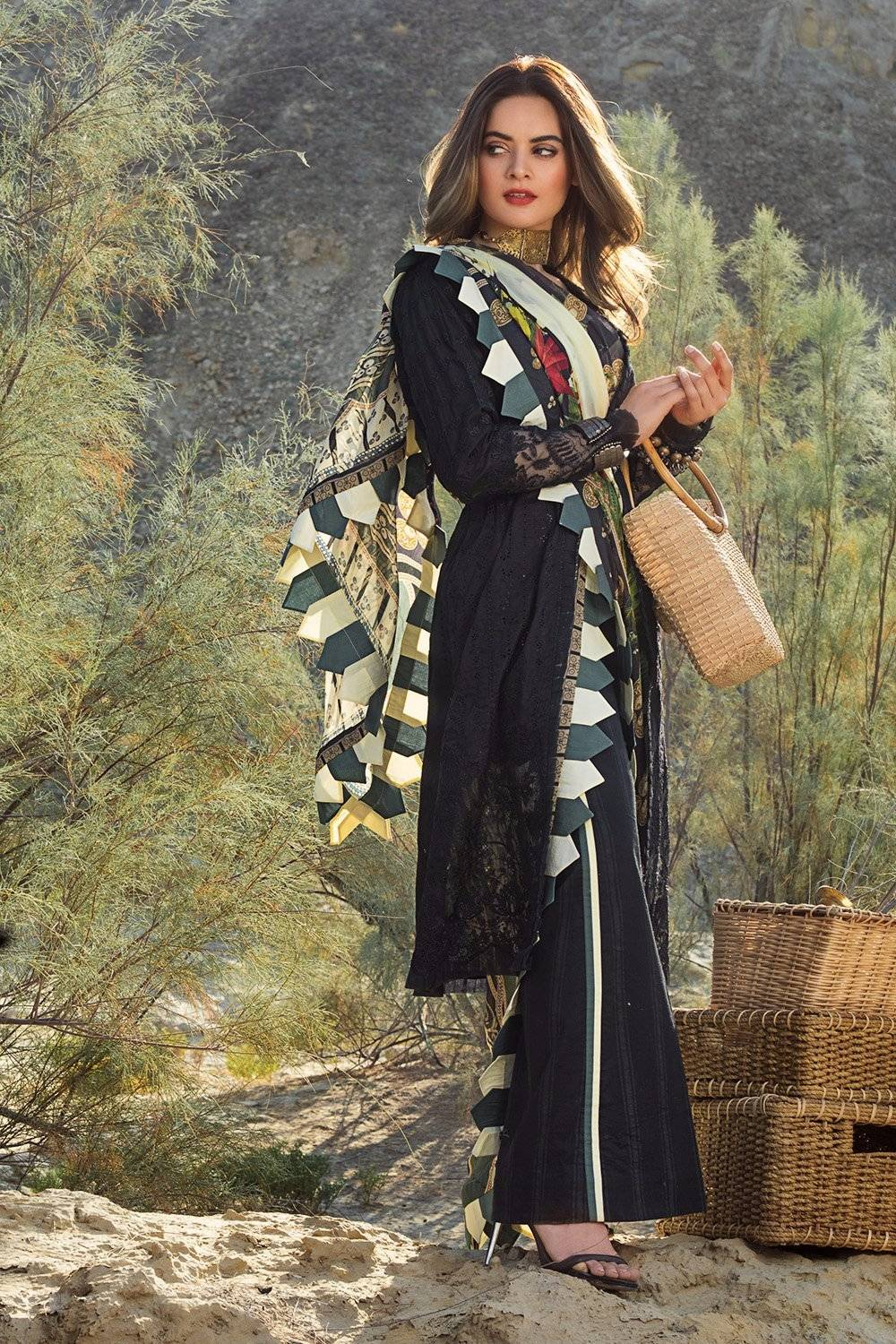 jade black embroidered lawn dress