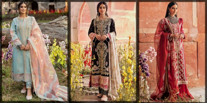 latest Qalamkar Luxury Lawn Collection for women and young girls