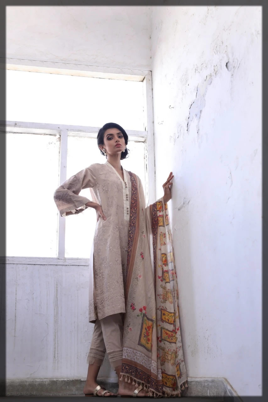 light almond brown embroidered lawn dress