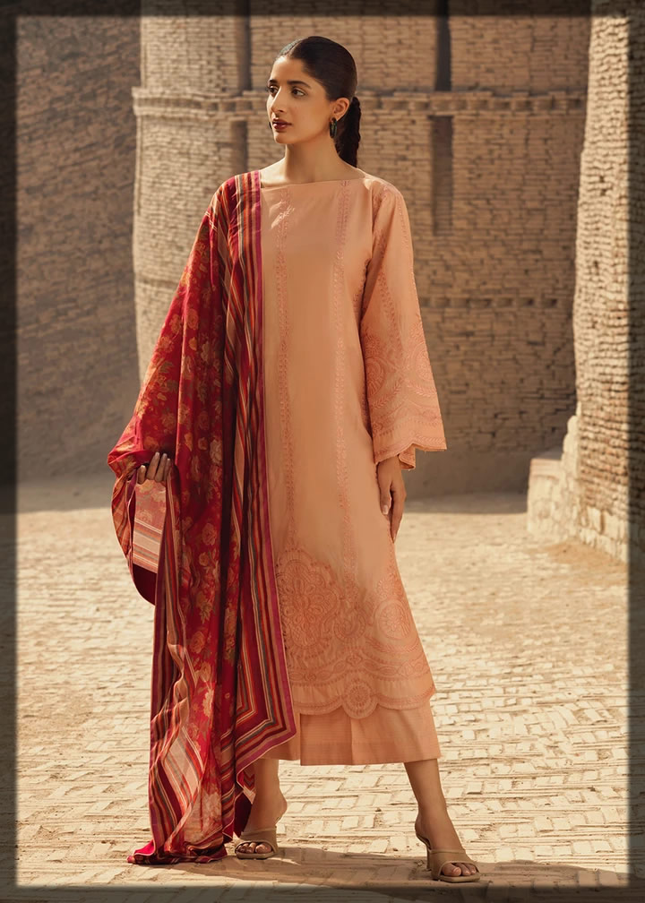 light peach embroidered lawn suit
