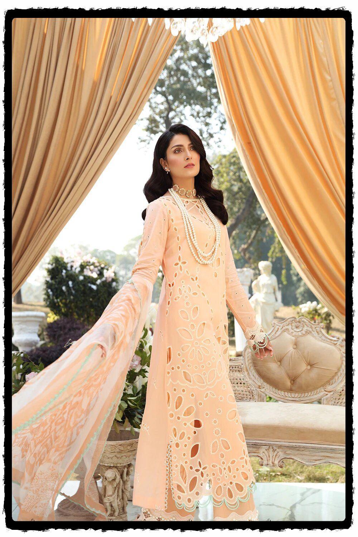 light peach luxury lawn dress