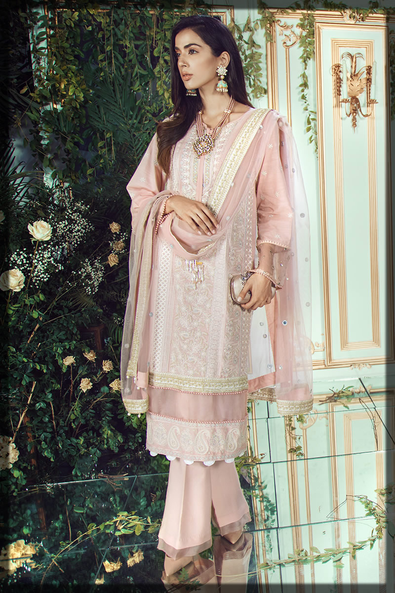 light pink festive lawn dress