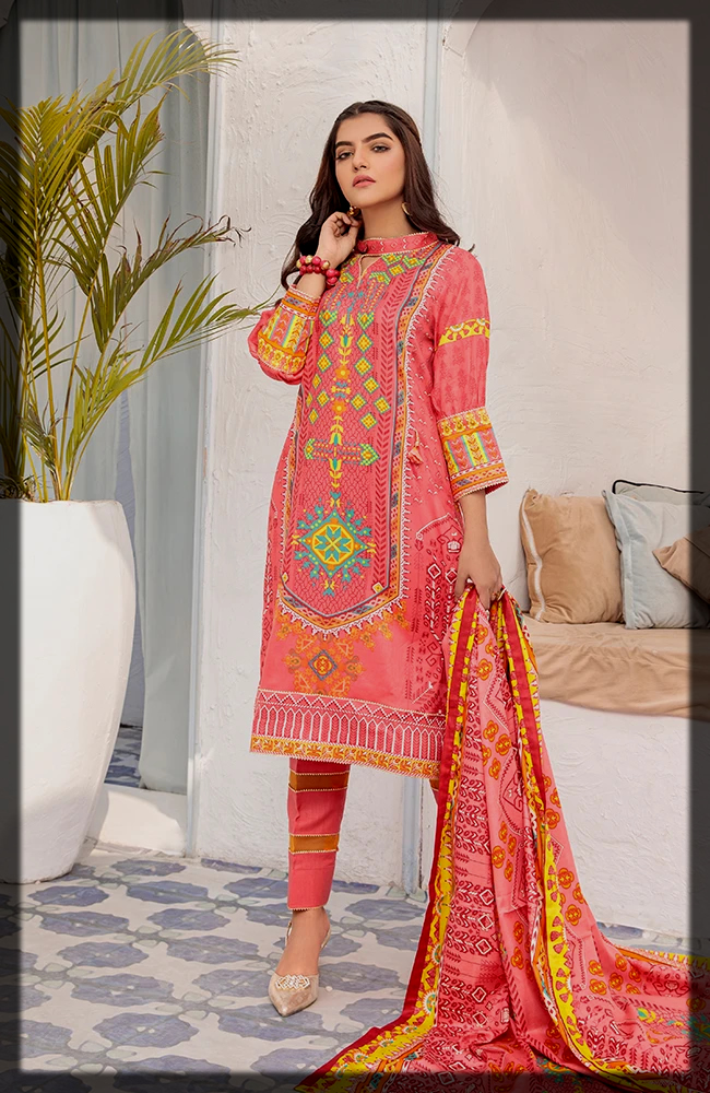 lovely pink summer lawn suit