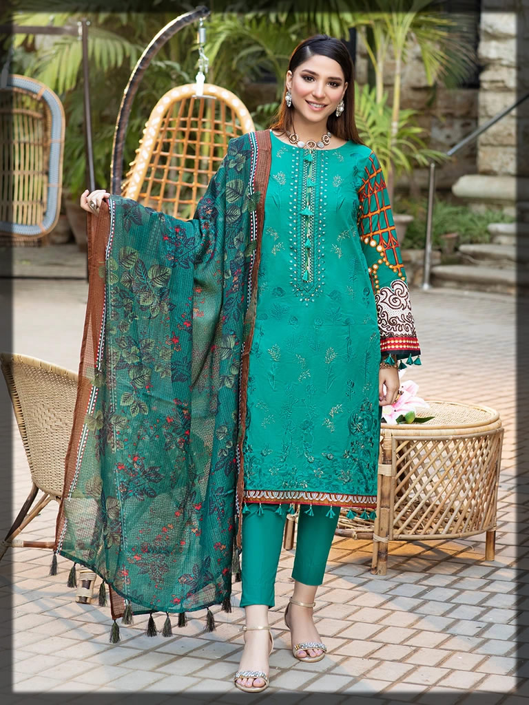 lovely sea green embroidered lawn suit