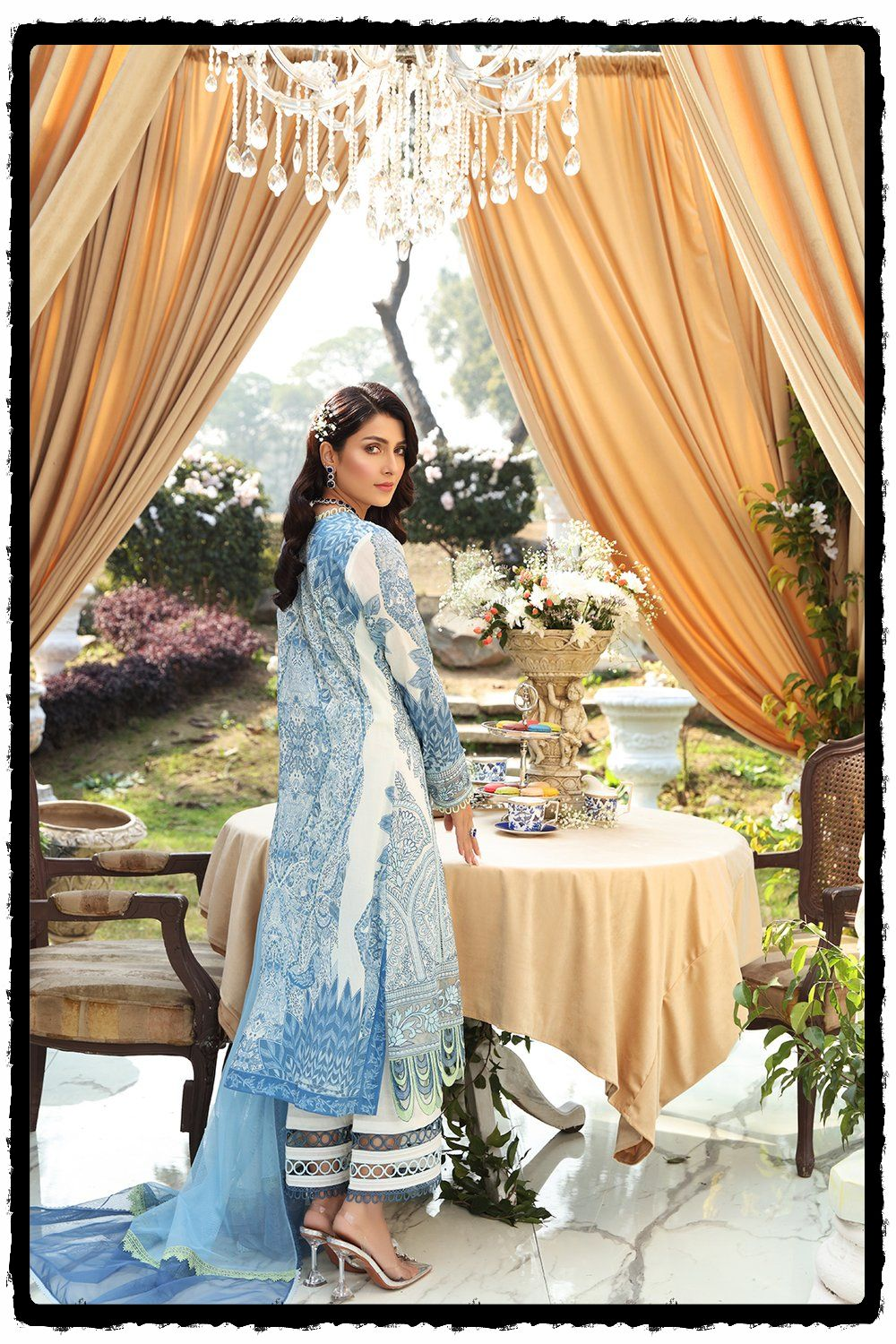 luxury blue and white lawn embroidered dress