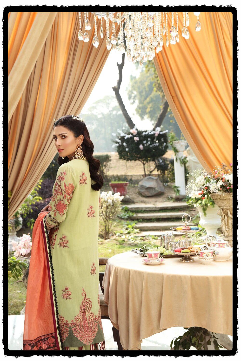 luxury green embroidered lawn dress