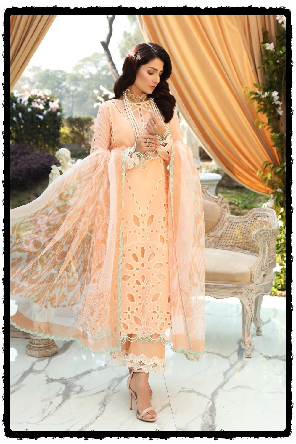 luxury peach embroidered lawn dress