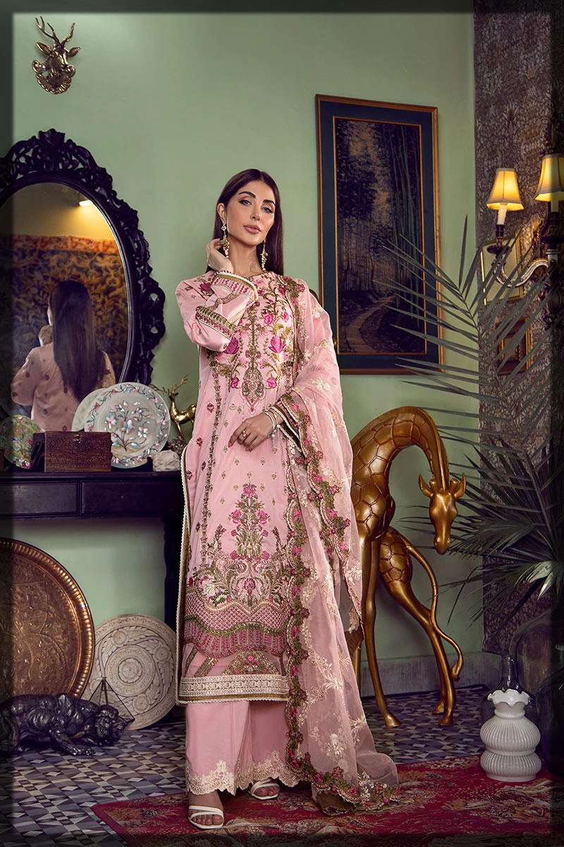 luxury pink embroidered lawn suit