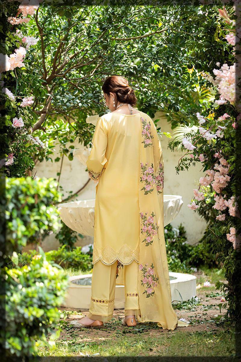 luxury sunny yellow lawn dress