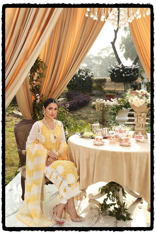luxury yellow embroidered lawn dress