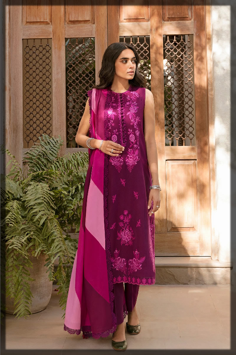 magenta embroidered lawn dress