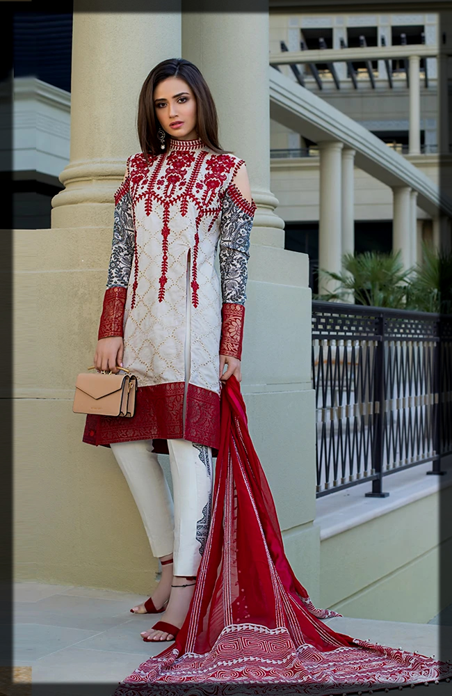 maroon and white summer lawn suit