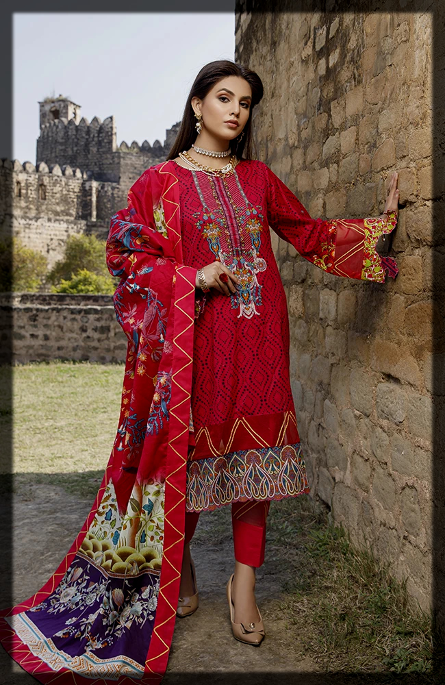 maroon shaded Al zohaib Textiles Summer Collection