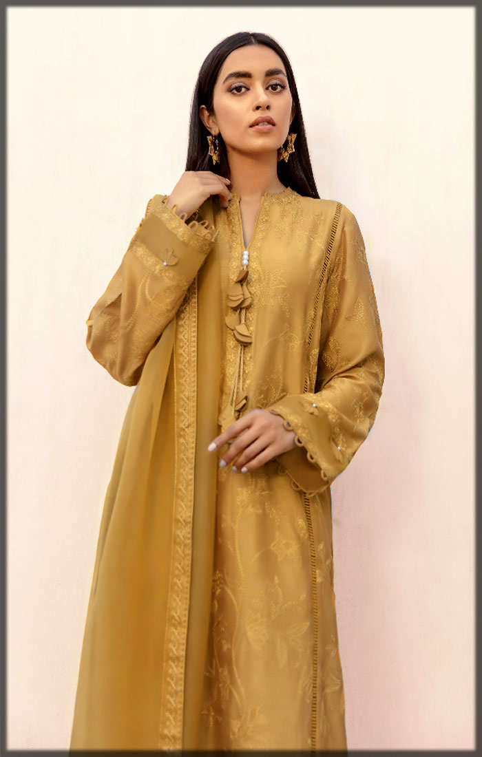 mustard embroidered lawn suit